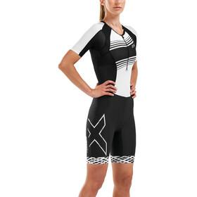2XU Compression Traje triatlón con mangas Mujer, black/black white lines